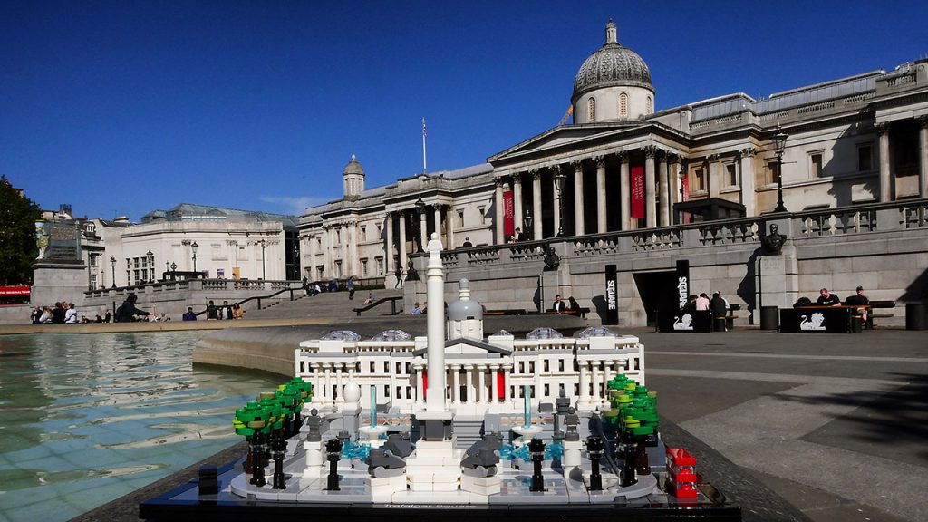 LEGO Trafalgar Square with National Gallery Behind