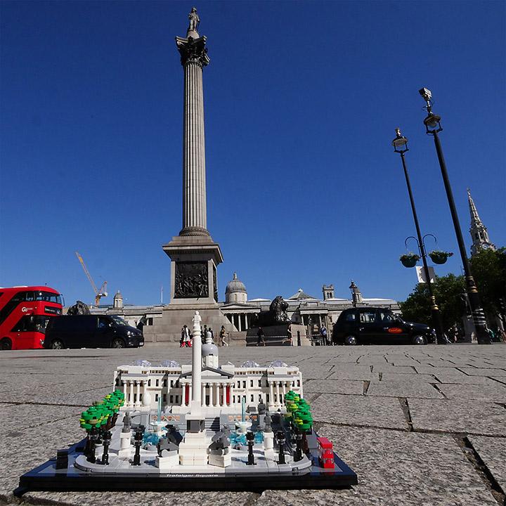 LEGO Trafalgar Square with Nelson's Column Behind