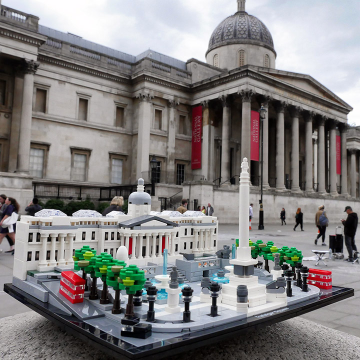 LEGO Trafalgar Square & National Gallery on a dull evening