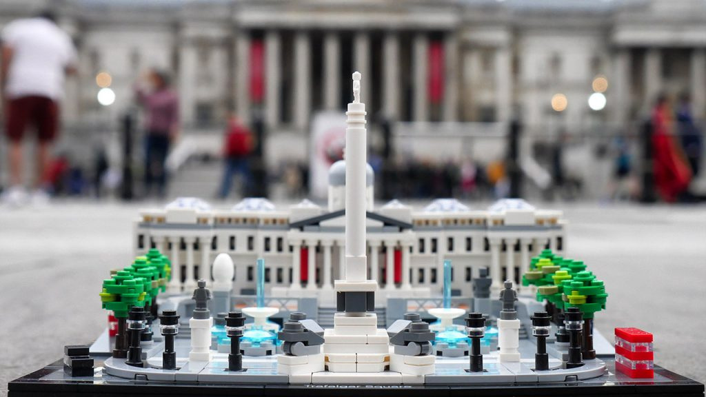LEGO Trafalgar Square, National Gallery in background, on a dull evening