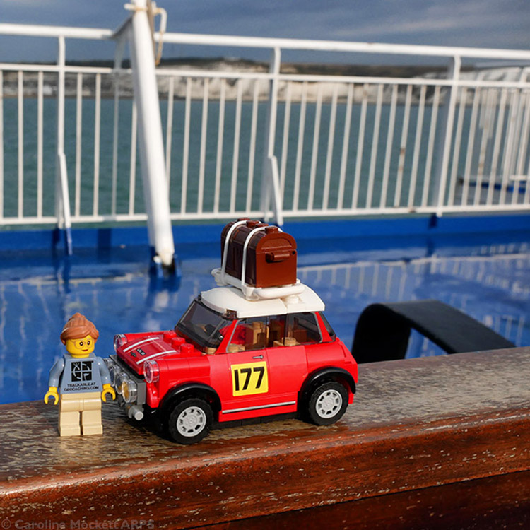 Little Caz and her Mini on the ferry from Dover